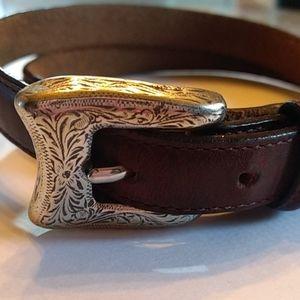 Vintage Belt Justin(boots) brand w silver buckle M